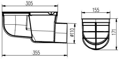 Chuděj kanalizační vpusť KV 110 B ST-s boční, šedá 325 G s