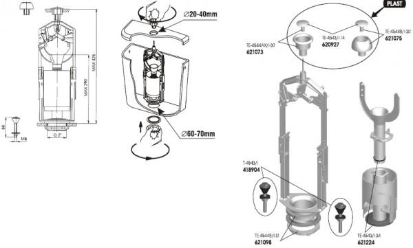 Splachovací ventil wc